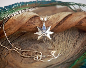 Guiding Star ~ Compass Rose ~ Sterling Silver Pendant ~ Nautical Star Starlight Evenstar Venus