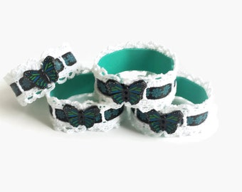Butterfly Napkin Rings, Set of Four Crochet Napkin Rings, White and Blue Butterfly Napkin Holders