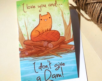 funny beaver card, anniversary card, valentines day card, christmas card