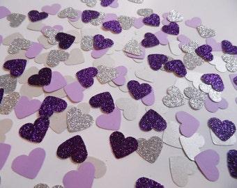 Silver and Purple Glitter Heart Confetti, Wedding Reception Decoration, Table Scatter, Paper Confetti, Bridal Shower Decor