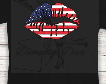 Kiss Lips American Flag Fourth of July 4th shirt