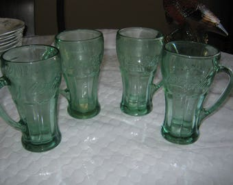 4 (Four) Coca Cola (Green) by LIBBEY GLASS COMPANY 6 3/8 inch Mug