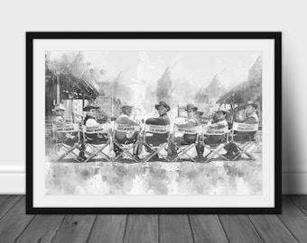 The Magnificent Seven Watercolour poster, Steve McQueen, Yul Brynner, Charles Bronson, Cowboy, Chris Pratt, Denzel Washington, Film, Movie