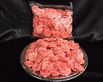 Vintage Large Coral Satin Fabric Rosettes! Perfect for your next craft, sewing project, or just fun decoration!