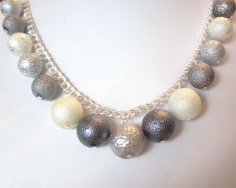 "Bumpy Pearl Necklace - Stunning ""Shades of Grey"" Pearl Necklace - Chunky, Choker, Bib, Necklace, Wedding, Bridal, Bridesmaid, SRAJD"