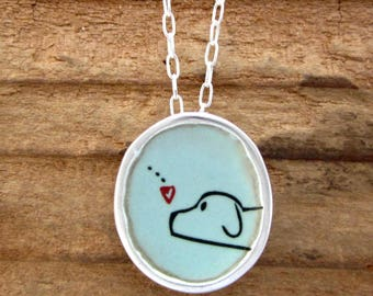 Love Dog - Sterling Silver and Vitreous Enamel Dog Pendant- Dog Friend