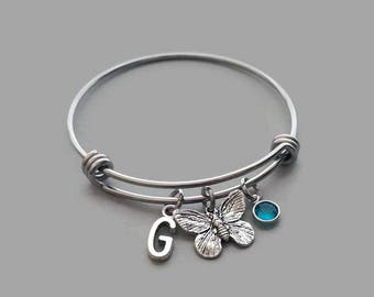 Butterfly Charm Bangle, Butterfly Charm Bracelet, Butterfly Bangle, Garden Charm, Spring Charm, Initial Charm, Birthstone, Stainless Steel