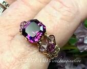 Amethyst Ring, Genuine Sw...