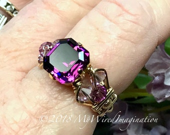 Amethyst Ring, Genuine Swarovski, Vintage Crystal Handmade Wire Wrapped Ring, Original Signature Design Fine Jewelry, February Birthstone