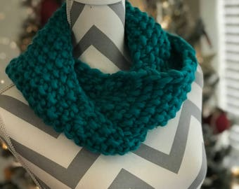 Knit Turquoise Chunky Cowl Neck warmer Christmas Handmade Gift READY TO SHIP