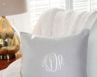 Pillow Cover in Grey Linen,Monogrammed Linen Pillow Cover, Wedding Gift, Nursery Personalized Pillow Cover, Home & Living Decor by OhKoey