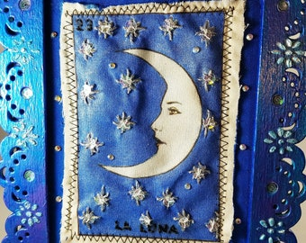 Mixed Media, Hand Embroidered, Image of La Luna, Mexican Loteria, Altered Panel, Mixed Media Panel, Wood Frame, Birthday, Bridal Shower