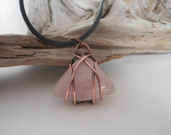 Copper Wire Wrapped Rose Quartz Cabochon , Pink Quartz Necklace, Gifts for Her , Wire Wrapped Jewelry