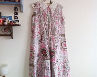 silk beach pajamas jumpsuit, olive and pink paisley pattern, white pointed collar / small - medium