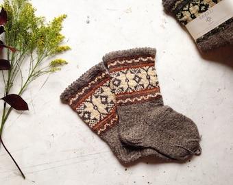 Hand-knitted Latvian Wool Socks - Auseklis - AU010