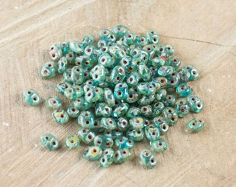 """Aquamarine Picasso SuperDuo Beads 2/5mm 2.5"""" Tube 364-25-T6002/C"""