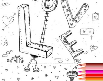 coloring page love coloring page adult coloring pages printable coloring page for adults - Coloring Pages About Love