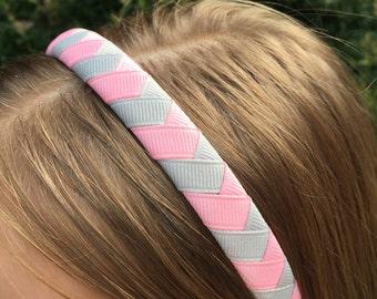 Light Pink Grey Chevron Woven Ribbon Headband
