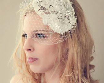 Ivory Lace Sequin Beaded Birdcage Veil