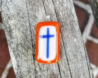 SALE Cross Pendant - Fused Glass Pendant - Christian Jewelry - Orange and Blue