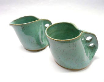 Pottery Cream and Sugar Set Ceramic Creamer Syrup Pitcher Gravy Boat Pottery Creamer Sugar Bowl Small in Speckled Turquoise