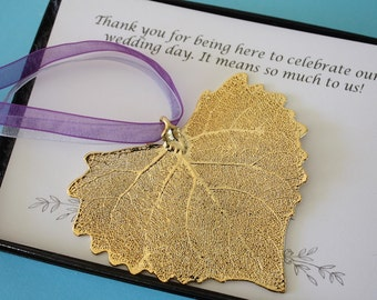 Leaf Wedding Gift, Large Gold Cottonwood Gift, Ornament Gift, Christmas Ornament, Thank You Card, Copper Gold Leaf, ORNA19