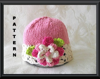 Knitted Hat Pattern Baby Hat Pattern Knitting Pattern for Baby Hat with Lace Trim and Pink with a Flower and leaves: PRETTY IN PINK