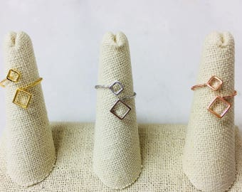 Geometry Ring, Fashion Ring, Crystal Ring, Dainty Ring, Stack Ring