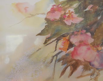 watercolor on paper pink orchids