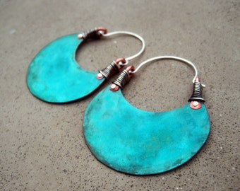 African Beauty in Turquoise, Big Hoop Earrings, Eye Catching, Boho, Hip, Ethnic, Mixed Metal