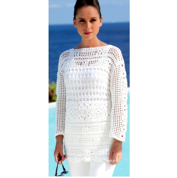 Instant Download Pdf Vintage Crochet Pattern Lace Tunic Beach Cover