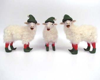 Christmas Sheep Sculpture, Santa's Elves