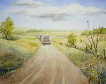 "Covered Wagon Painting-Western Summer Prairie Landscape-Wagon Tracks-ORIGINAL Watercolor-11""x15"" Medium Wall Hanging"
