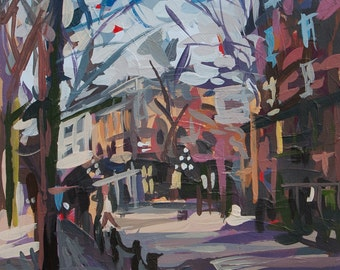 "Original Painting of Vancouver // February in Gastown (Vancouver no. 27) // 8"" x 11"" // Original Acrylic Painting on Paper"