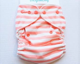 One Size, cloth diaper cover, fleece lined PUL with AI2 option, coral and white stripes