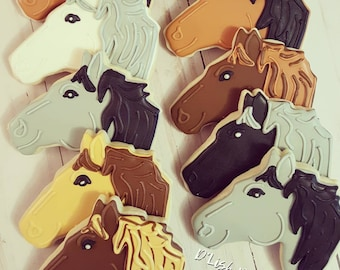 Horse themed decorated sugar cookies