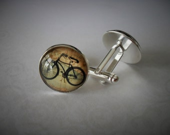 VINTAGE BICYCLE CUFFLINKS / Gift for Cyclist / Gift for Him  / Cuff Links / Gift boxed