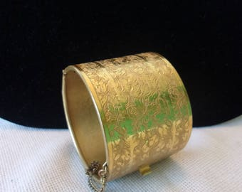 Miriam Haskell Etched Flower Pattern Gold Bangle Wide Cuff Bracelet
