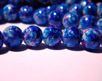 shiny 20 painted glass beads - 8 mm - turquoise and fuchsia PG43 1