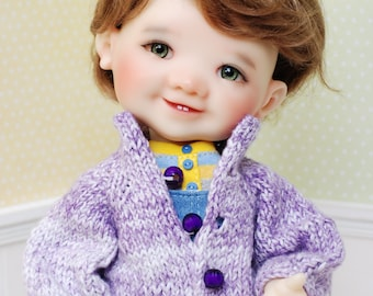 Knitting Cardigan for Patii Giggi Doll By My Meadow Pink Purple Rose
