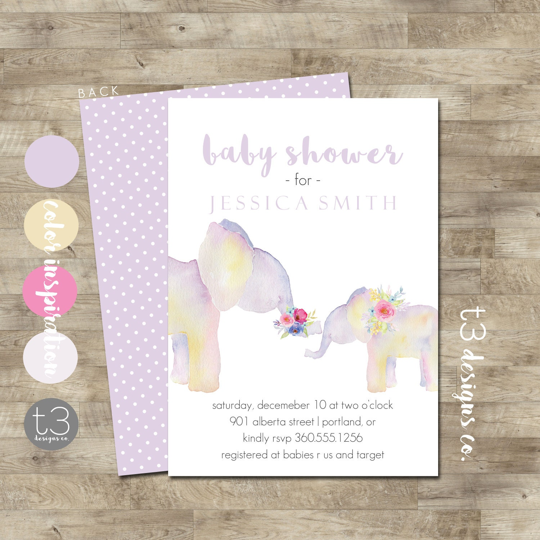 Elephant Baby Shower Invite, Girl Elephant Baby Shower Invitation ...