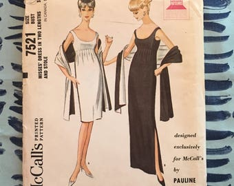 1964 Mccalls  Sewing Pattern 7521 Misses Deep Scoop Neck Empire Waist Dress Long or Short with Stole by Pauline Trigere Size 12 Uncut -1960