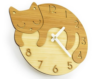CAT CLOCK - Clock With Numbers - Bamboo Wall Clock - Children's Room Decor - Nursery Decor - Baby Shower Gift - Simple Wall Clock- Cat Lover