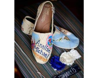 Bride's Love Story Shoes Unique TOMS Wedding Flats Wedding Shoes Gift for the Bride Love Story Bride's Shoes Goth Boho Wedding Bride