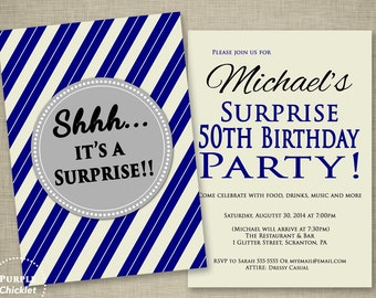 Men's Navy Blue Surprise 50th Birthday Invitation Masculine Party Invite Offwhite and Blue Diagonal Stripes 2 Sided Printable Invite JPEG144