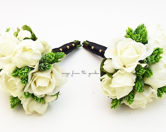 Wedding Party Bouquets Real Touch White Peonies and Roses Bridesmaids Bouquets with Hops Greenery Accents - Rustic Wedding Flower Package