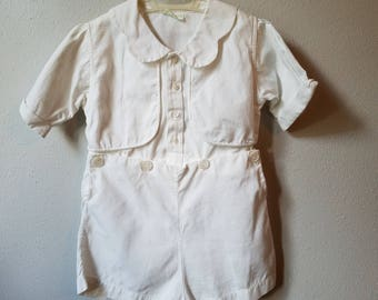 Vintage Boys White Button On Shorts Outfit with Scalloped Collar by Stantogs - Size 2t- Gently Worn- Baptism Outfit