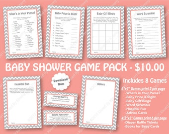 Coral Gray Baby Shower Game Pack - 70% OFF SALE - PRINTABLE Shower Games 8 Pack - Light Gray & Coral -Nautical Chevron Party - Diaper Raffle