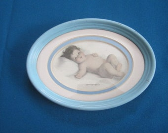 Vintage 1920s Adorable Little Baby Print titled CONTENTMENT in Blue Metal Oval Frame