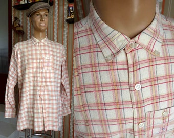 Beautiful and Rare French Vintage 1930's 1940's Farmer Style Plaid Mens Shirt with Embroided Monogram - Size M-L